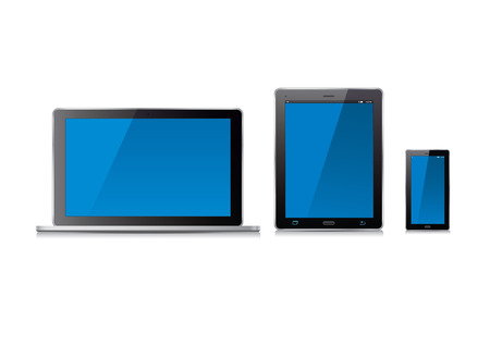 personal data assistant: Smart phone, tablet and laptop. Vector Illustration.