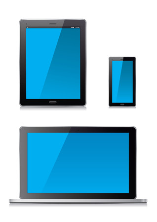 electronic organizer: Smart phone, tablet and laptop. Vector Illustration.