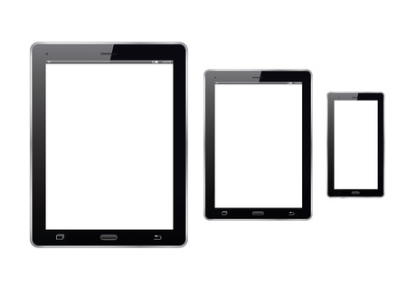 personal data assistant: Set of electronic devices. Tablet and smart phone. Vector Illustration. Illustration