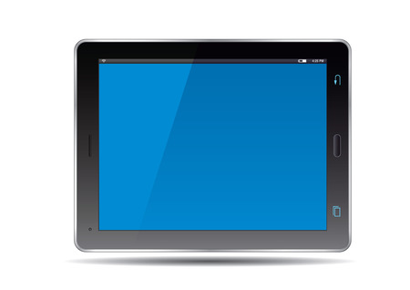 blue screen: Tablet and blue screen. Vector Illustration. Illustration