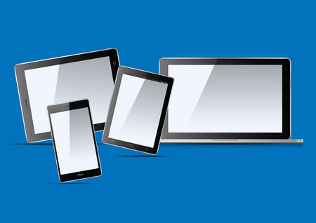 palmtop: Set of electronic devices. Laptop, tablet and smart phone. Vector Illustration.