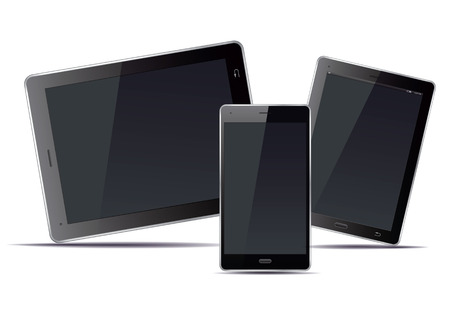 palmtop: Set of electronic devices. Tablet and smart phone. Vector Illustration. Illustration