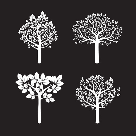 sketched shapes: Seo of white Trees. Vector Illustration.