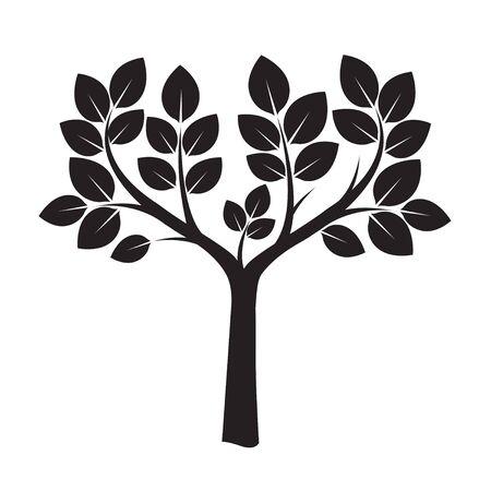 leafs: Vector Illustration of Black Tree and Leafs Illustration