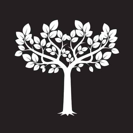 leafs: Vector Illustration of White Tree and Leafs.