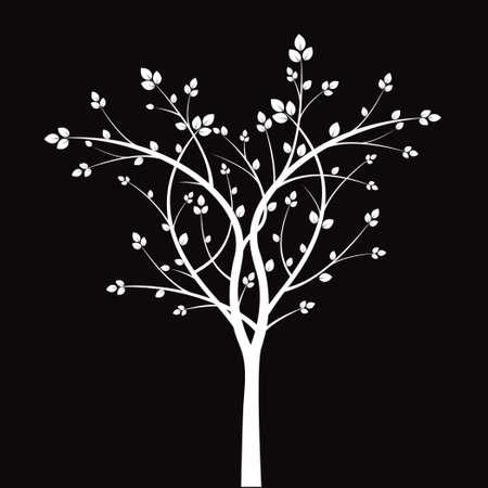 wite: White tree on black background.