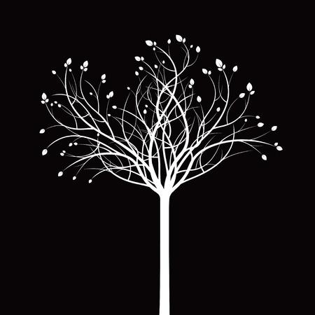 wite: White tree on black background. Vetor Illustration. Illustration