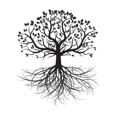 Old Black Baum und Wurzeln. Vektor-Illustration. Vektorgrafik