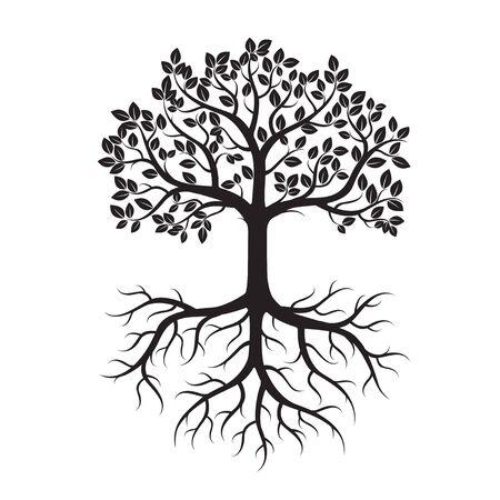 raices de plantas: Black Tree and Roots. Vector Illustration. Vectores