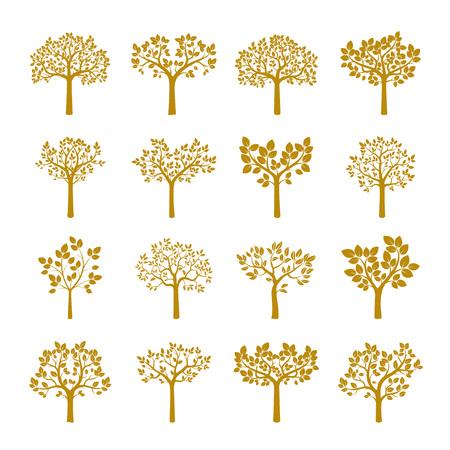 Set van Golden Trees. Vector Illustratie.