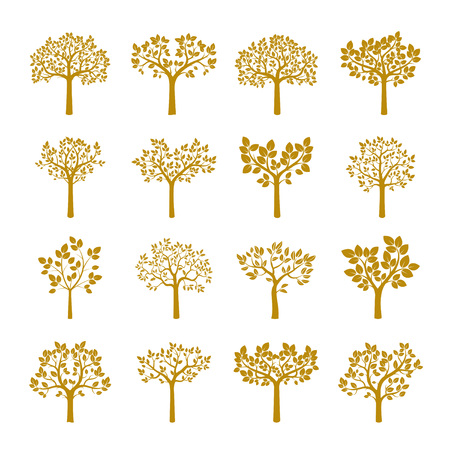 Set of Golden Trees. Vector Illustration.