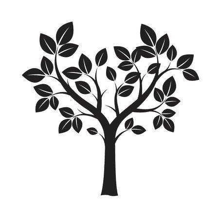 sketched shapes: Black Tree. Vector Illustration.