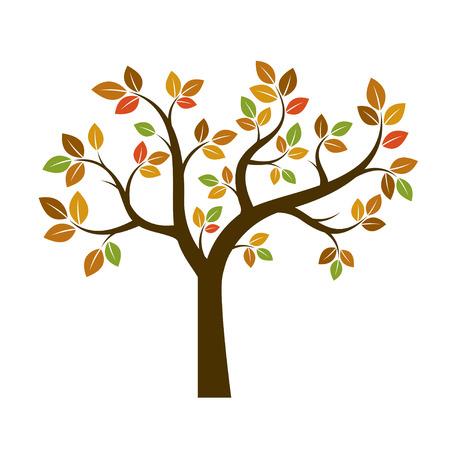 leaf line: Color Tree Illustration. Nature and Garden.