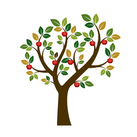 sketched shapes: Color Apple Tree Fruits ans Illustration. Nature and garden Illustration