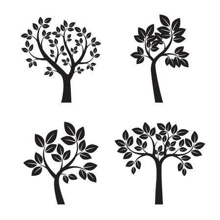 Set black trees illustration. Nature and Garden.