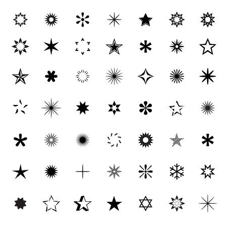 graphic elements: Collection of Stars. Black Vector Icons and graphic Elements. Illustration