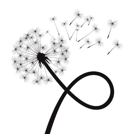 Black Dandelions. Vector Illustration. Illustration