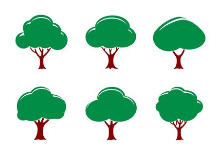 Green Tree Icon Set. Vector Illustration and Graphic Element. Illustration