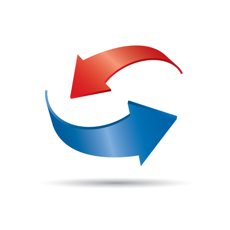abstract recycle arrows: Red and blue vector arrows. Drawing Illustration.