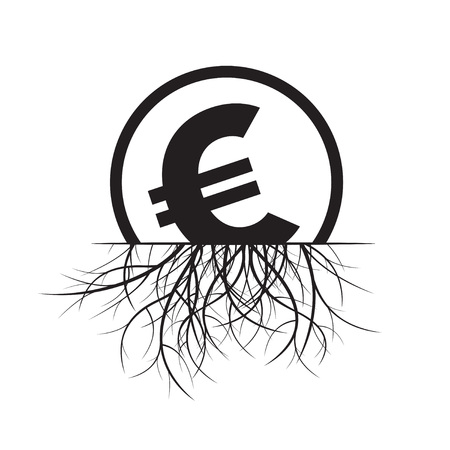 euro sign: Euro sign and Roots. Vector Illustration. Illustration
