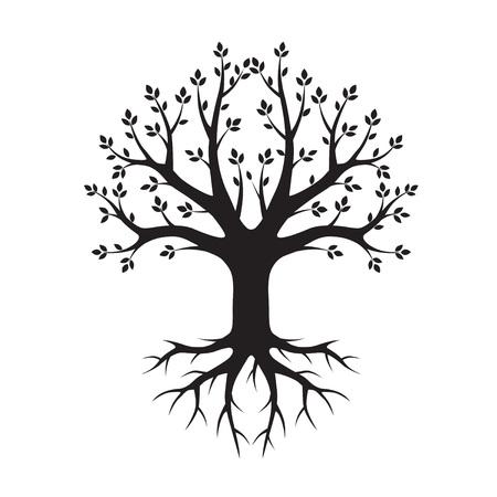 Black Tree and Roots. Vector Illustration. Çizim