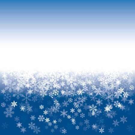 Blue Sky and White Snowflakes. Vector Illustration.