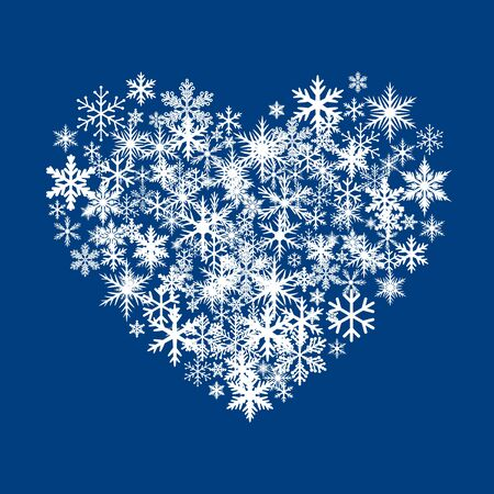 Sign of Heart and White Snowflakes. Vector Illustration.