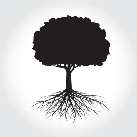 Tree with Roots. Vector Illustration. Illustration