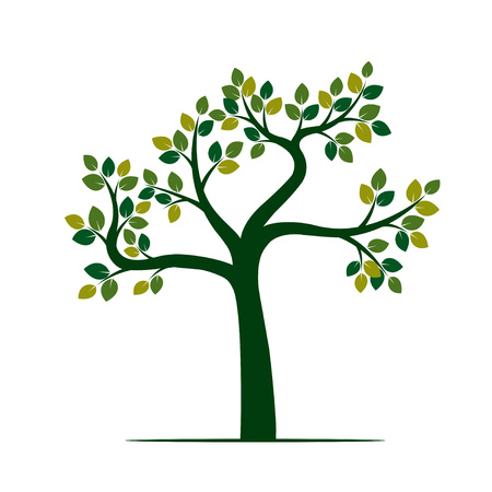 sketched shapes: Green Tree. Vector Illustration and nature element.