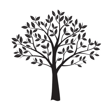 Black Tree. Vector Illustration and Graphic Element.