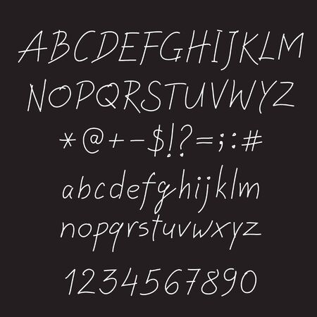 White alphabet on black background. Vector Illustration.