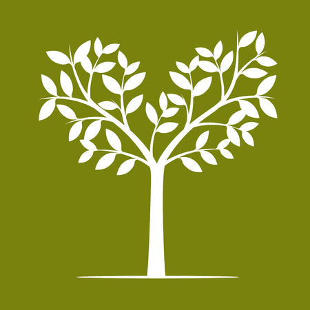 White Tree on Green Background. Vector Illustration and Element of Nature.
