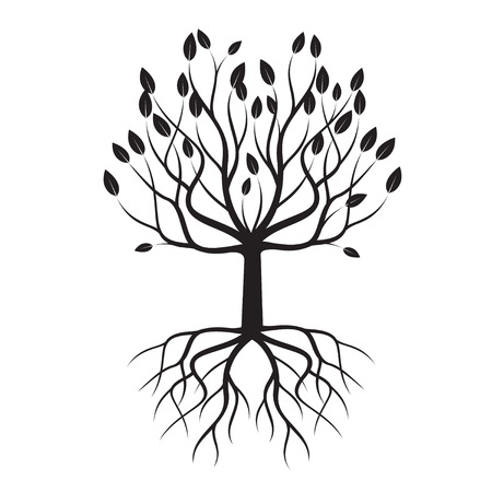 Black Tree with Roots. Vector Illustration and graphic design.