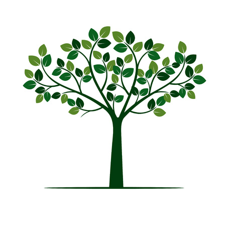 Isolated Green Tree with Roots. Vector Illustration. Vettoriali