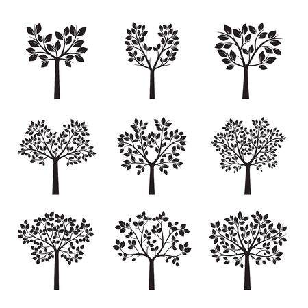 Set Black Trees with the Leafs. Vector Illustration.