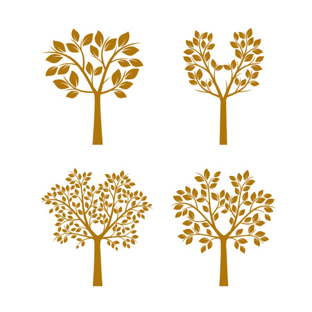 Set golden Trees with the Leafs. Vector Illustration. Illustration