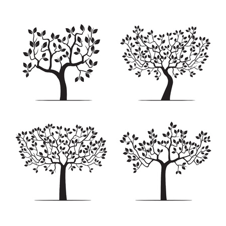 Set of black trees with leafs. Vector Illustration.