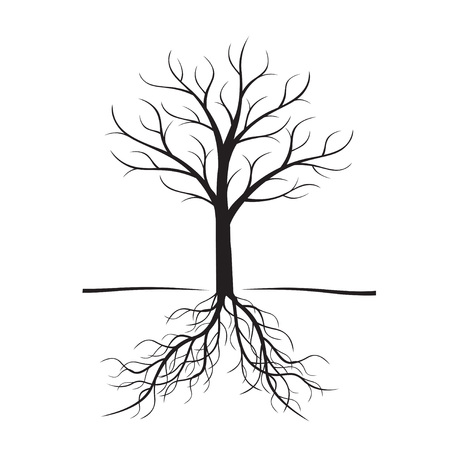 Black vector tree with roots. Illustration