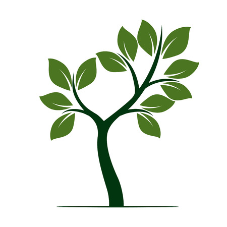 Green Tree. Vector Illustration. Çizim