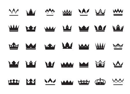 Zestaw czarnych koron wektorowych i ikony