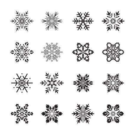ensemble de flocons de neige icône noire. illustration vectorielle
