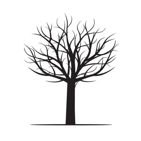 Albero nero senza foglie. Illustrazione vettoriale Archivio Fotografico - 84986207