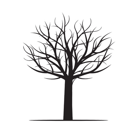 Black Tree without Leaves. Vector Illustration.