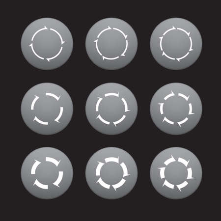 Set of white arrows in gray buttons. Vector Illustration.