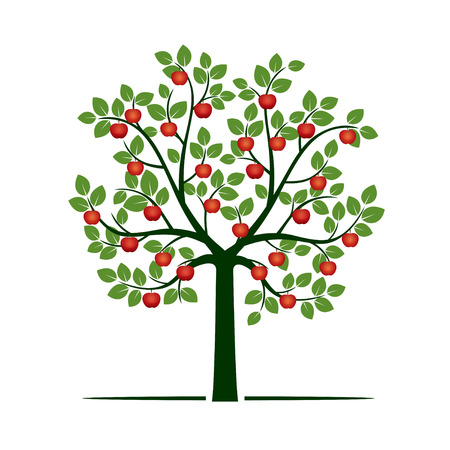 グリーン ツリーと赤いリンゴ。ベクトルの図。