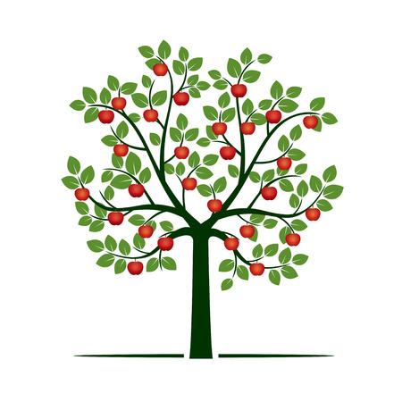 Groene boom en rode appels. Vector illustratie.