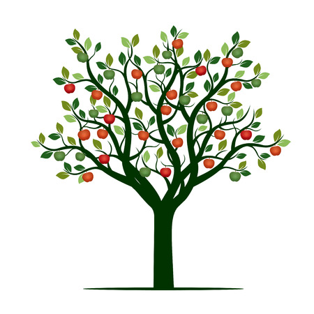 Green Tree and Apples. Vector Illustration.