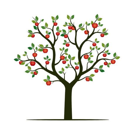 Green Tree and red Apples. Vector Illustration. Illustration