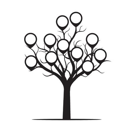 Black Tree and Borders. Vector Illustration. Illustration