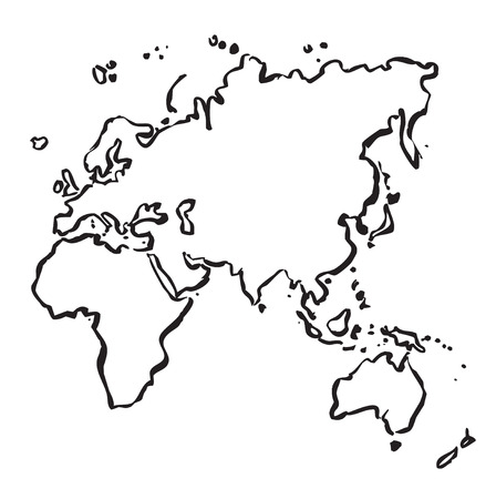 Outline map of Europe, Asia, Africa and Australia